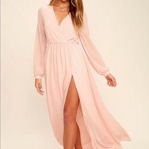 Blush pink chiffon maxi dress